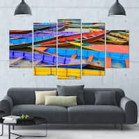 Designart 'Old Colorful Sailboats in Lake' Boat Wall Artwork on Canvas - 60x32 5 Panels - Multi-color