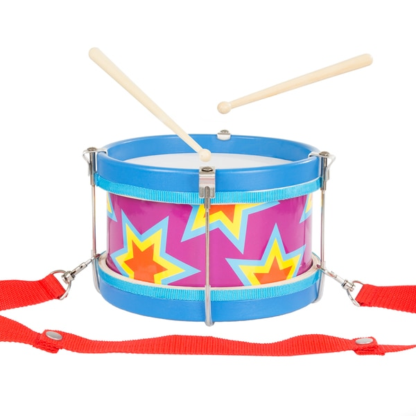 Hey! Play! Marching Drum with Adjustable Strap & Wooden Drum Sticks