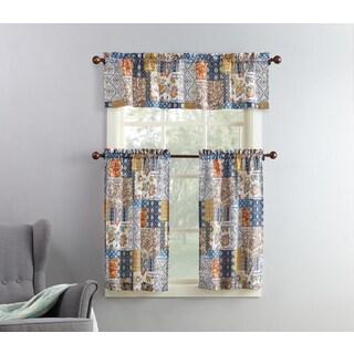 No. 918 Antoinette Patchwork Print Microfiber 3-Piece Kitchen Curtain Valance and Tiers Set