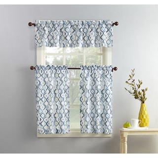 No. 918 Barker Geometric Print Microfiber 3-piece Kitchen Curtain Valance and Tiers Set