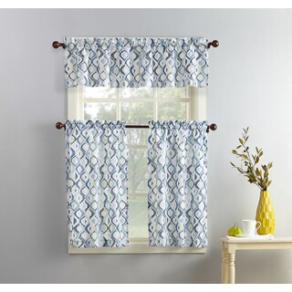 No. 918 Barker Geometric Print Microfiber 3-piece Kitchen Curtain Valance and Tiers Set
