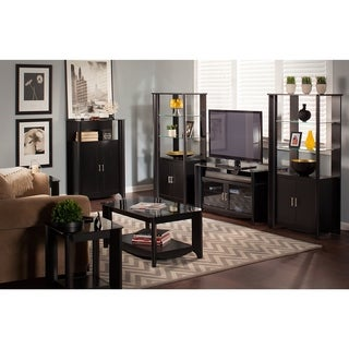 Aero TV Stand and Coffee Table with End Tables and Storage in Black