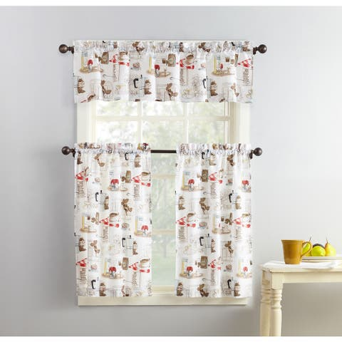 No. 918 Brew Coffee Shop Microfiber 3-Piece Kitchen Curtain Valance and Tiers Set