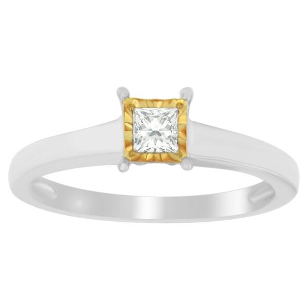 Two-Toned Sterling Silver 1/5ct TDW Princess-Cut Diamond Ring (J-K, I1-I2) - White J-K
