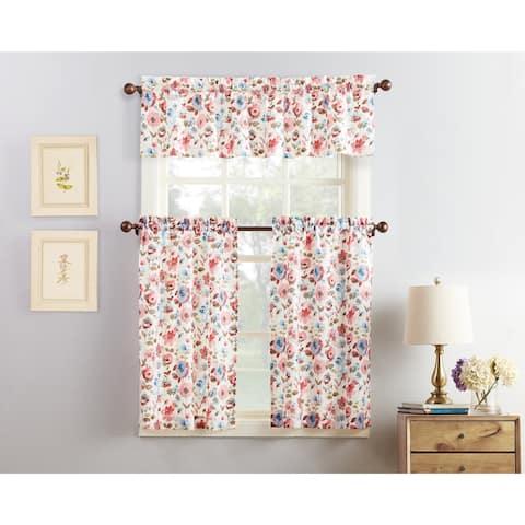 No. 918 Deana Floral Print Microfiber 3-Piece Kitchen Curtain Valance and Tiers Set