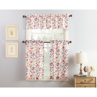 No. 918 Deana Floral Print Microfiber 3-Piece Kitchen Curtain Valance and Tiers Set