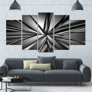 Designart 'Futuristic Crystal Background' Large Abstract Canvas Art Print- 60x32 5 Panels
