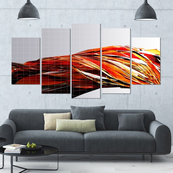 Designart 'Red Faceted Crystal Texture' Large Abstract Canvas Art Print- 60x32 5 Panels
