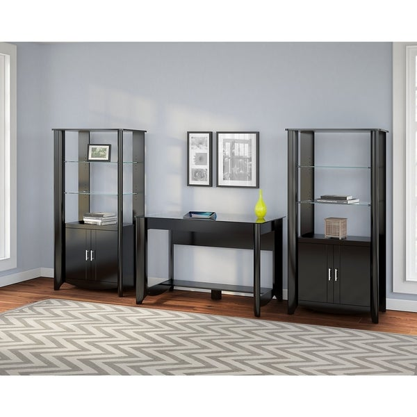 Shop Aero Set Of 2 Tall Library Storage Cabinets With Doors In Black