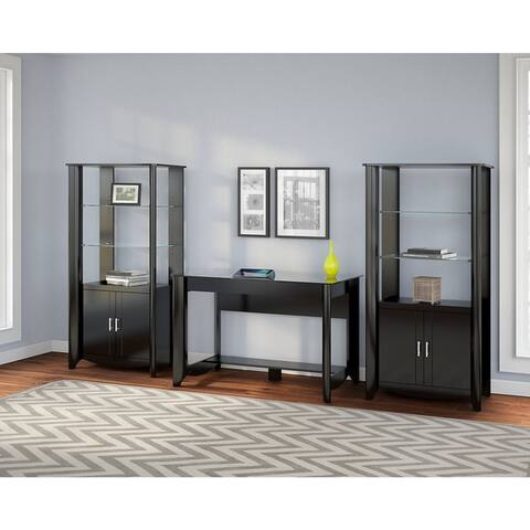 Copper Grove Sofia Tall Library Storage Cabinets with Doors in Black (Set of 2)