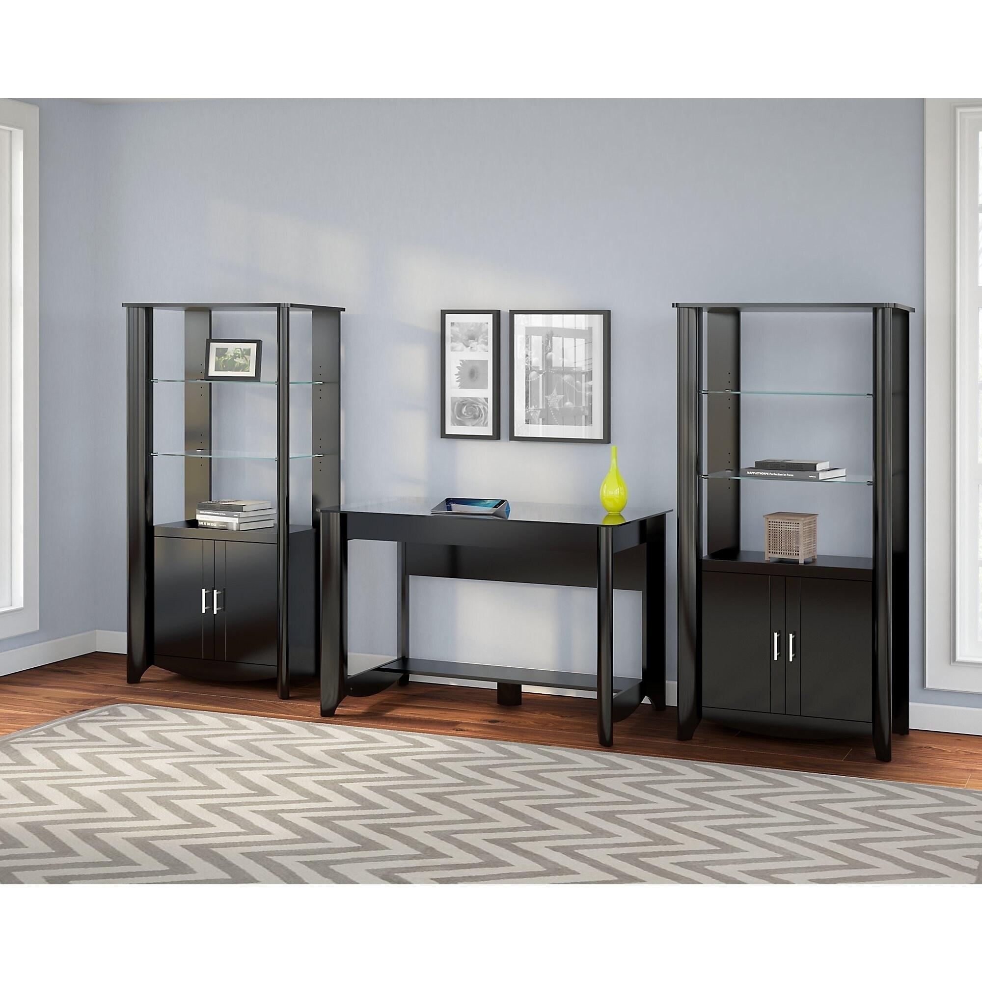 Bush Furniture Aero Set of 2 Tall Library Storage Cabinet...