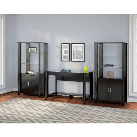 Aero Set of 2 Tall Library Storage Cabinets with Doors in Black