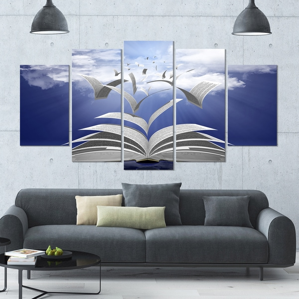 Shop Designart Book Pages Skyward Large Abstract Canvas