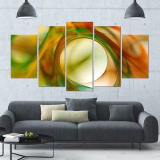 Designart 'Circled Green Psychedelic Texture' Glossy Canvas Art Print - 60x32 5 Panels