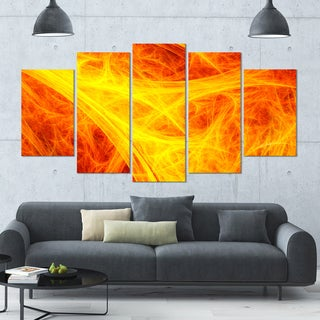 Designart 'Orange Mystic Psychedelic Texture' Glossy Canvas Art Print - 60x32 5 Panels