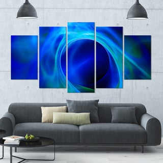 Designart 'Circled Blue Psychedelic Texture' Glossy Canvas Art Print - 60x32 5 Panels