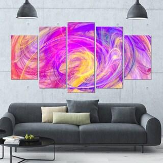Designart 'Purple Mystic Psychedelic Texture' Glossy Canvas Art Print - 60x32 5 Panels