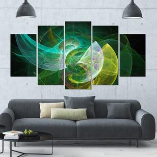 Designart 'Green Mystic Psychedelic Texture' Glossy Canvas Art Print - 60x32 5 Panels