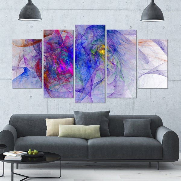 Designart 'Blue Mystic Psychedelic Texture' Glossy Canvas Art Print - 60x32 5 Panels