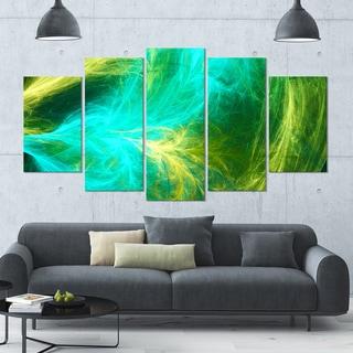 Designart 'Green Mystic Psychedelic Design' Glossy Canvas Art Print - 60x32 5 Panels