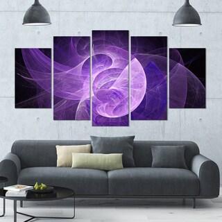 Designart 'Purple Mystic Psychedelic Design' Glossy Canvas Art Print - 60x32 5 Panels