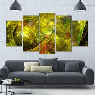 Designart 'Golden Mystic Psychedelic Texture' Glossy Canvas Art Print - 60x32 5 Panels