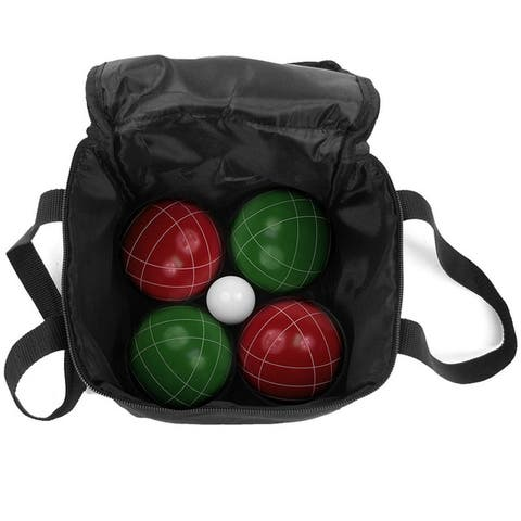 """Hey! Play! 9-piece Bocce Ball Set with Easy Carry Nylon - Red/Green - 3.5"""" Ball"""