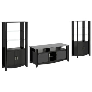 Aero 56 Inch TV Stand and 2 Tall Library Storage Cabinets in Black