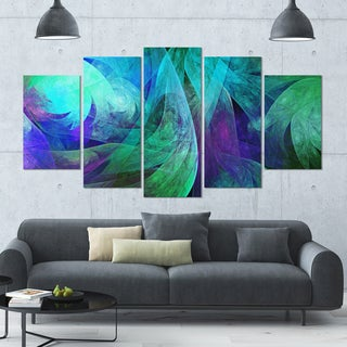Designart 'Green Fractal Abstract Pattern' Glossy Canvas Art Print - 60x32 5 Panels