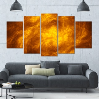 Designart 'Brown Fractal Abstract Pattern' Glossy Canvas Art Print - 60x32 5 Panels