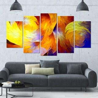 Designart 'Yellow Fractal Abstract Pattern' Glossy Canvas Art Print - 60x32 5 Panels