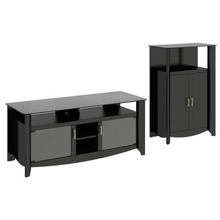 Aero 56 Inch TV Stand and Library Storage Cabinet with Doors in Black