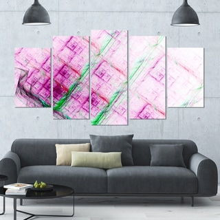 Designart 'Purple Fractal Grill Pattern' Glossy Canvas Art Print - 60x32 5 Panels