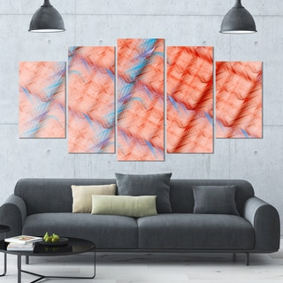 Designart 'Red Fractal Grill Pattern' Glossy Canvas Art Print - 60x32 5 Panels