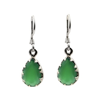 Sterling Silver Teardrop Green Onyx Earrings