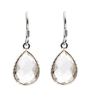 Sterling Silver Crystal Quartz Teardrop Earrings