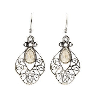 Sterling Silver Rainbow Moonstone Open Lace Pattern Earrings