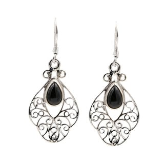 Sterling Silver Onyx Open Lace Pattern Earrings