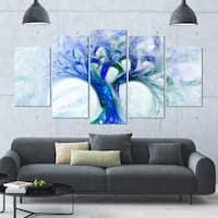 Designart 'Blue Mystic Psychedelic Tree' Multipanel Canvas Art Print - 60x32 5 Panels