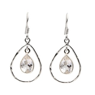 Sterling Silver Crystal Quartz Dangling Hoop Earrings
