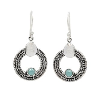 Sterling Silver with Larimar Circular Dangle Earrings