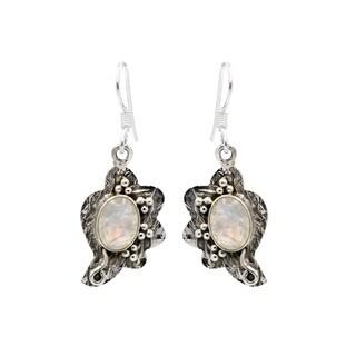 Sterling Silver Moonstone Asymmetrical Design Earrings