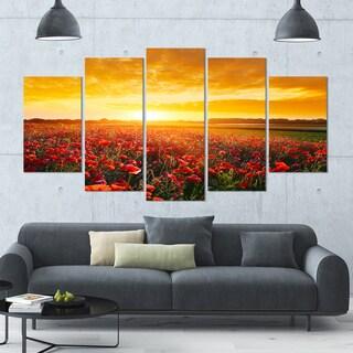 Designart 'Poppy Field under Ablaze Sunset' Multipanel Canvas Art Print - 60x32 5 Panels