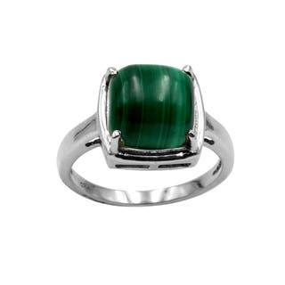 Sterling Silver Malachite Ring|https://ak1.ostkcdn.com/images/products/14629267/P21169907.jpg?impolicy=medium