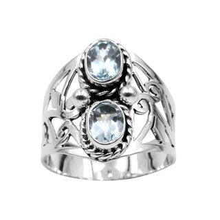 Sterling Silver Blue Topaz Wide Band Ring