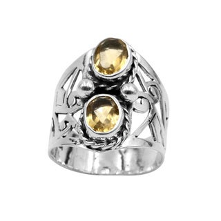 Sterling Silver Citrine-cut Out Wide Band Ring - Yellow