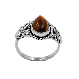 Sterling Silver Pear-shaped Cabachon-cut Tiger's Eye Ring - Brown