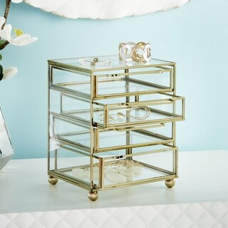 Glass and Goldtone Iron Jewelry Box