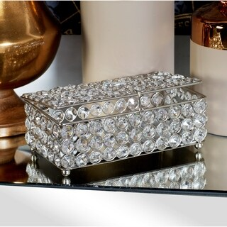 Crystal and Silvertone Iron Jewelry Box