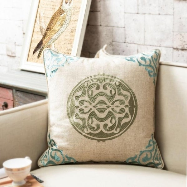 20 x 20-inch Embroidered linen Medallion Throw Pillow